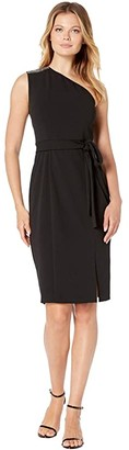 Donna Morgan Stretch Crepe Sparkle Detail One Shoulder Belted Bodycon with Slit Dress (Black) Women's Dress