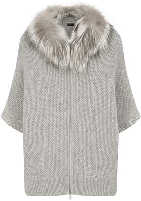 William Sharp Fox Fur Hooded Cardigan