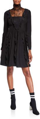 RED Valentino Turtleneck Long-Sleeve Silk Crepe De Chine Dress