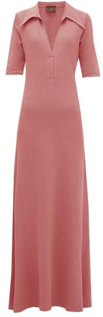 ALBUS LUMEN Point-collar Terry Cotton Shirt Dress - Pink
