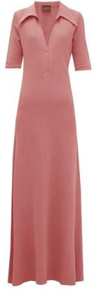 ALBUS LUMEN Point-collar Terry Cotton Shirt Dress - Womens - Pink