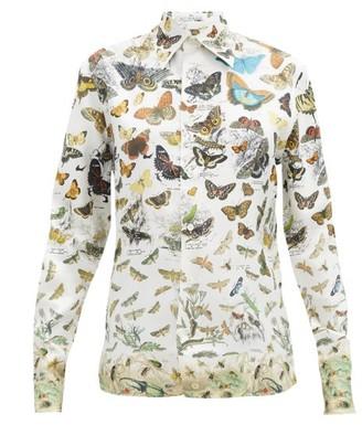 Alister Mackie - Illustrative-print Silk-faille Shirt - Ivory Multi