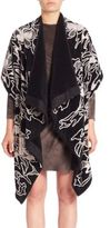 Josie Natori Pony Embroidered Draped Cardigan