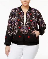 INC International Concepts Plus Size Floral-Print Bomber Jacket, Only at Macy's