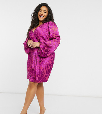 Forever New Curve wrap ruched mini dress with balloon sleeve in bright fuchsia