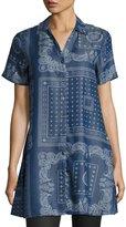 Neiman Marcus Chambray Bandana-Print Tunic, Blue Pattern
