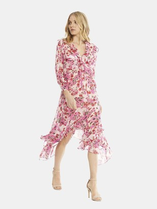 MISA Samantha Ruffle Midi Dress