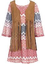 My Michelle Big Girls 7-16 Suede Vest And Chevron-Print Dress Set