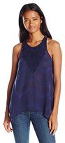 Eyeshadow Women's Sleeveless Knit Geo Chevron Lace Top