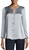 Lafayette 148 New York Dara Bracelet-Sleeve Silk Blouse, Zinc