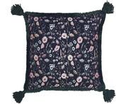 Stranger Than Them Florence Botanical Jacquard and Pink Velvet Square Down tassel Cushion
