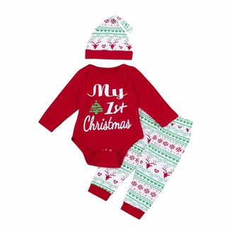 Deloito  Baby Clothes Set for 0-24 Months Kids ! Deloito 3Pcs Newborn Infant Baby Girls Boys Letter Print Romper Tops+Printed Pants+Hat Christmas Outfits My First Christmas Santa Clothes Set (Red 80(12M))