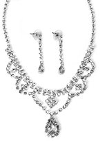 Swarovski Rhinestone Element Silver Tear Drop Bridal Necklace Earring Set
