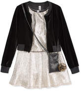 Beautees 3-Pc. Velvet Bomber Jacket, Dress and Purse Set, Big Girls (7-16)