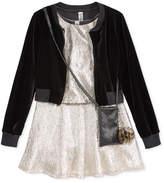 Beautees 3-Pc. Velvet Bomber Jacket, Dress & Purse Set, Big Girls (7-16)