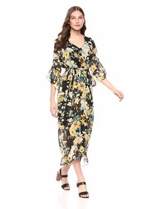 Nine West Women's Bell Sleeve Faux Wrap Maxi Dress