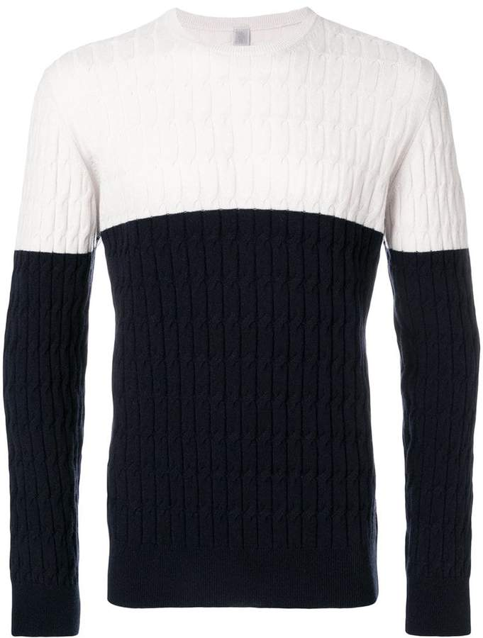 Eleventy cable knit two-tone sweater