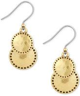Lucky Brand Gold-Tone Double Disc Drop Earrings
