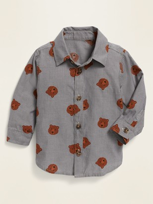 Old Navy Unisex Bear-Print Long-Sleeve Poplin Shirt for Baby