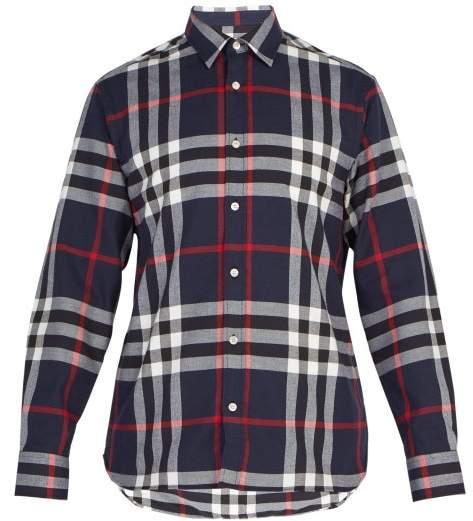 Burberry Richard Medium Check Cotton Shirt - Mens - Navy Multi