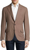 Brunello Cucinelli Linen-Blend Two-Button Jacket, Camel