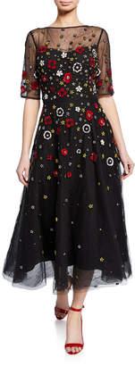 Rickie Freeman For Teri Jon Beaded 3D Floral Embroidered Midi Tulle Dress