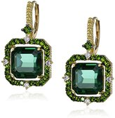 "Judith Ripka Lila"" Green Quartz Asscher Drop Earrings (1/10cttw, G-H Color, SI1 Clarity)"