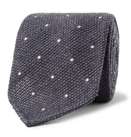 Drakes Drake's - 8cm Pin-dot Wool And Silk-blend Tie - Dark gray
