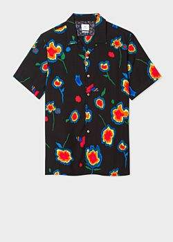Men's Classic-Fit Black 'Heat Map Floral' Print Short-Sleeve Lyocell Shirt