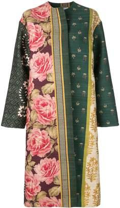Oscar de la Renta multi-pattern open coat