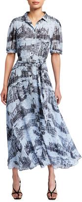 Derek Lam 10 Crosby Faye Printed Button-Down Midi Dress