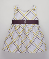 Princess Linens White & Brown Plaid Initial Dress - Infant, Toddler & Girls