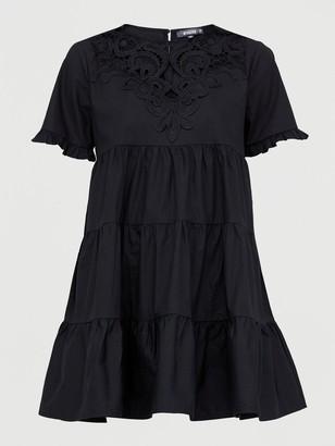 Missguided Poplin Crochet Smock Dress - Black