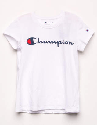 Champion Logo White Girls Tee
