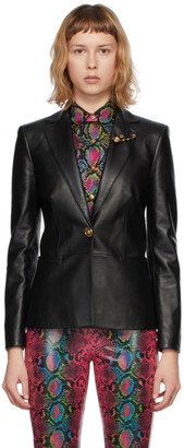 Versace Black Leather Medusa Safety Pin Blazer