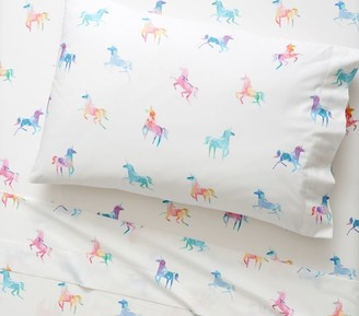 west elm Organic Watercolor Unicorn Sheet Set