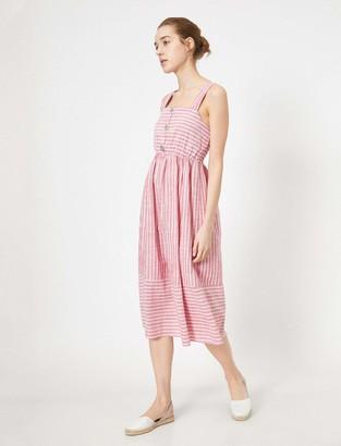 Koton Women's Rot gestreiftes midi Sommerkleid Casual Dress