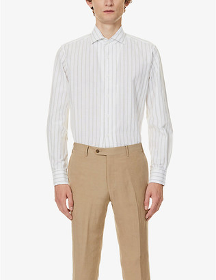 Corneliani Striped slim-fit cotton and linen-blend shirt