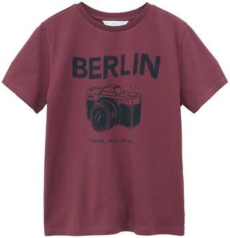 MANGO Boys Berlin Printed Short Sleeve Tshirt - Burgundy