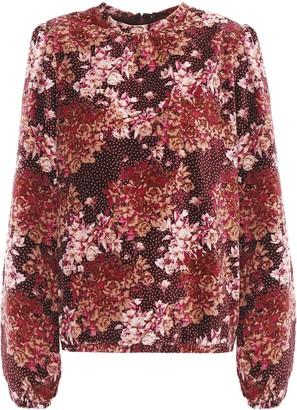 By Ti Mo Floral-print Cotton-velvet Blouse
