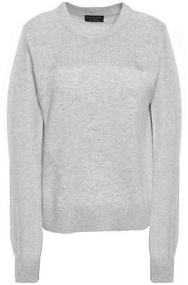 Rag & Bone Sabreena Open Knit-paneled Melange Cashmere Sweater