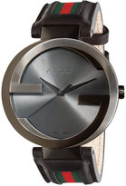 Gucci Watch, Unisex Swiss Interlocking Green and Red Striped Black Leather Strap 42mm YA133206