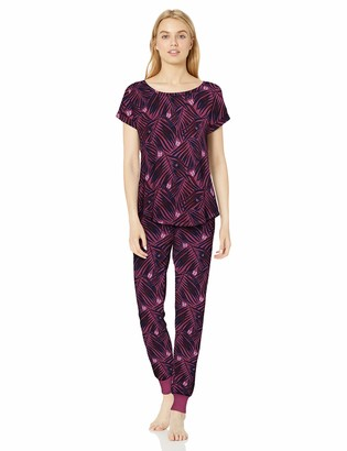 Munki Munki Women's Short Sleeve Dolman and Jogger Pajama Set