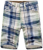 utcoco Men's Active Plaid Shorts with Belt-Loop Waistband (No Belt)