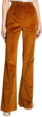 Veronica Beard Basima Flare-Leg Corduroy Pants