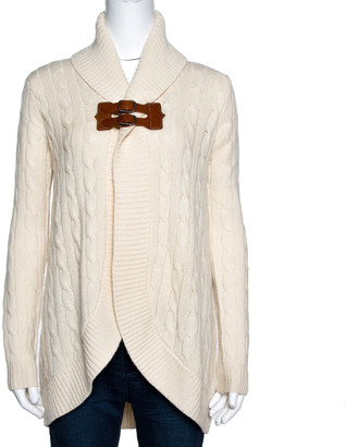 Ralph Lauren Cream Cashmere & Wool Shawl Collar Cardigan XS