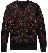 Alexander McQueen Embroidered Fleece-back Cotton-jersey Sweatshirt - Black
