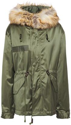 Nili Lotan Aviano Faux Fur-trimmed Satin-shell Hooded Jacket