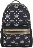 Dolce & Gabbana Printed Nylon And Leather Backpack