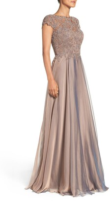 La Femme Lace & Satin A-Line Gown